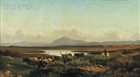 campagna vista with cattle and horseman by achille vertunni