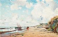 coastal scene from villerville by axel lindman