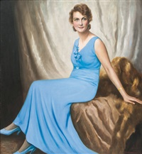 lady in a blue dress by franz kienmayer