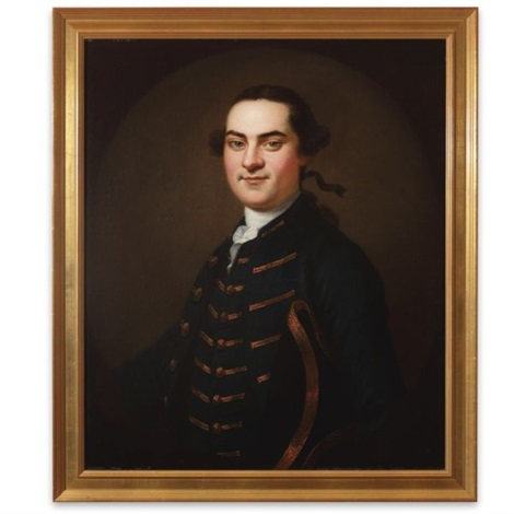 portrait of a gentleman in a blue coat with gold trim john swift by john wollaston
