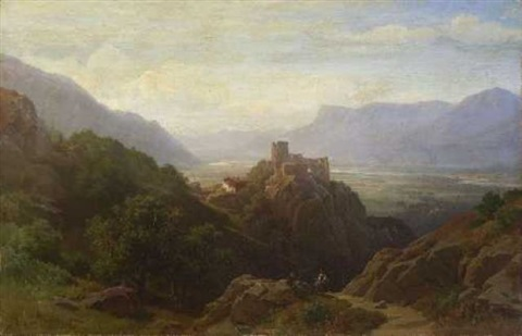 Das etschtal bei meran by august behrendsen on artnet for Lana bei meran