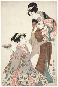 gruppe von zwei frauen und einem kind. eine elegant angezogene junge frau sitzt auf dem boden und hält eine awabi-muschel hoch (ôban) by utagawa toyohiro