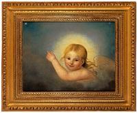 portrait eines lächelnden geflügelten engels zwischen 2 sternen by philipp otto runge