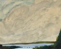 landscape with billowing clouds by simon lissim