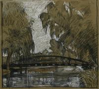 brücke über gewässer in einem park by otto sohn-rethel