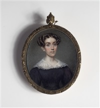 portrait of a woman in black dress with lace collar by nathaniel rogers
