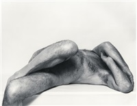 self portrait: reclining torso, arms folded by john coplans
