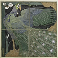 four-part tile panel with peacock by frederick hurten rhead