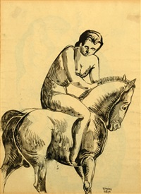 nude on a back of a horse (double-sided) by béla kádár