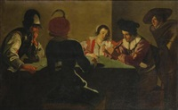 soldiers cheating at cards with a woman by jacob oost the elder