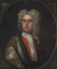 portrait of a gentleman, traditionally identified as henry bower (1700-1770), half-length, in an embroidered coat and red waistcoat by thomas hudson