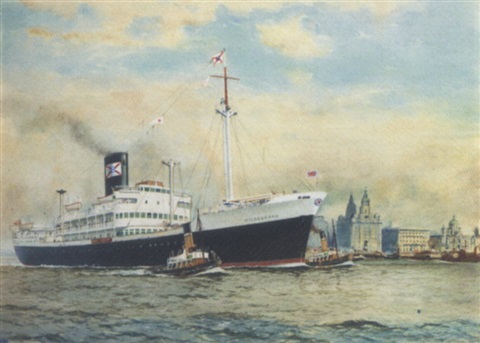 the booth lines hildebrand arriving at liverpool under tug escort by william mcdowell