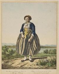 eine bäuerin zu diessen am amer-see in feyertags-kleidung (from sammlung bayerischer national-costüme mit historischem text) by felix joseph lipowsky