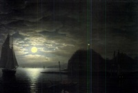 moonlight, owl's head, northeast view by fitz henry lane