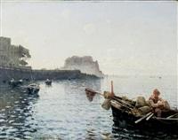 pescatori nel golfo di napoli - naples gulf with fishermen by alceste campriani