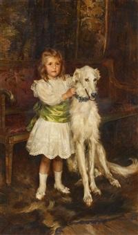 kinderporträt des grafen louis vorow zborrowski mit seinem hund by julian russel story