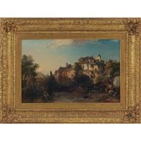 courtyard and buildings, avranches, normandie by james vivien de fleury