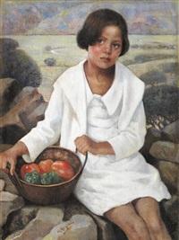 niña con verduras y fondo de paisaje by rafael argeles y escriche