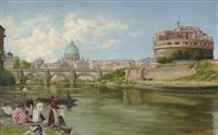 vue sur le tibre à rome avec château et le pont saint-ange by abel boulineau