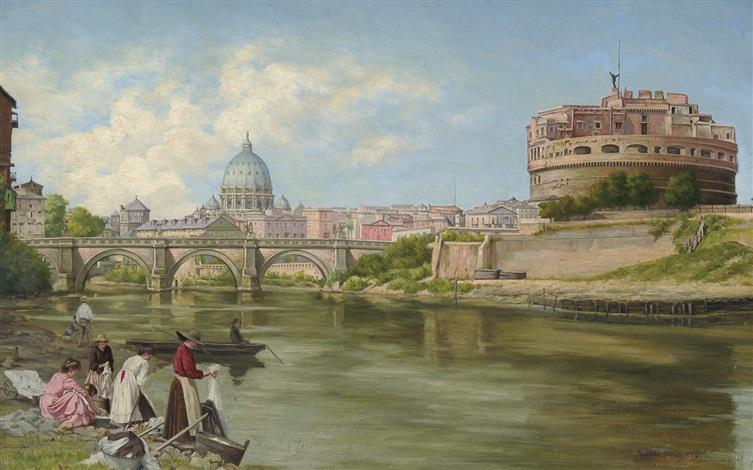 vue sur le tibre à rome avec château et le pont saint ange by abel boulineau