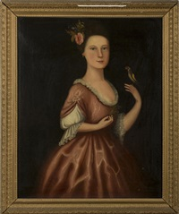 portrait of a woman in pink gown with a rose in her hair and holding a finch by anglo-american school (18)