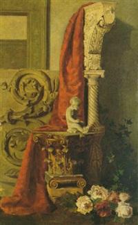 studio di frammenti architettonici e fiori by annibale angeolini