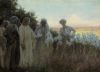 christ in a garden of lilies by alfred edward emslie