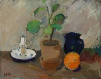 still life with jug, fruit and flower by søren hjorth-nielsen