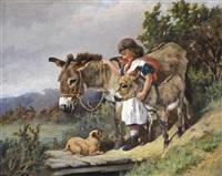 a girl with donkeys and a dog by arthur batt