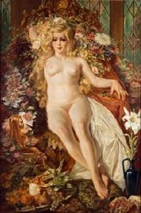desnudo con bodegón de frutas by médard tytgat