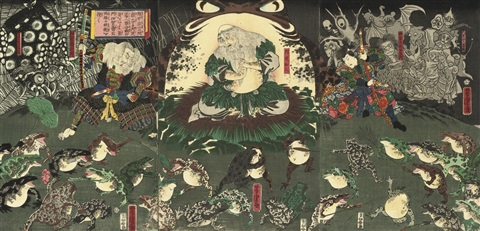 gama sennin in front of a giant toad triptych 11 others 12 works by utagawa yoshitora