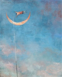 man jumping over the crescent moon by brad holland