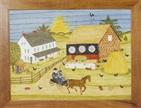 landscape depicting an amish couple at their farm by bill rank