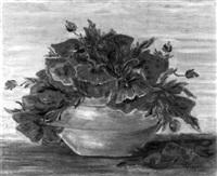 stilleben mit mohnblumen in bauchiger grauer vase by hugo frey