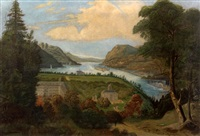 "view of west point with sidewheelers ""drew"" and ""st. john"" by american school-hudson river (19)"
