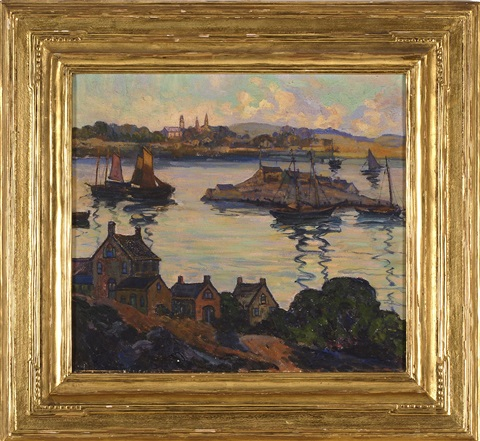 harbor scene likely gloucester by fern isabel coppedge