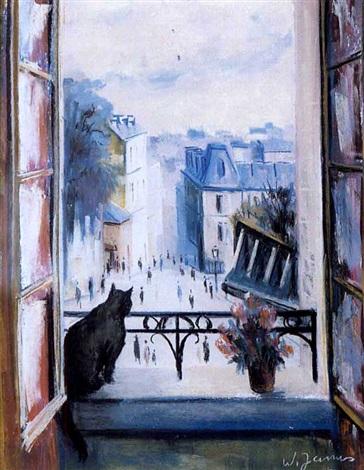 Le chat la fen tre by willy rochat james on artnet for A la fenetre sarthoise