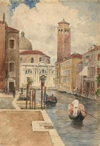 gondoliere auf einem kanal in venedig by richard lipps