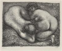 deux femmes dans l'herbe (+ planche aux quatre croquis, etching, 1927) by aristide maillol