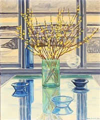 vase with forsythia in front of a window by lars swane