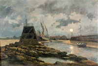 vue du port de courseulles (calvados) by jean baptiste georges gassies