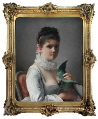 portrait of a lady with a parrot by jeanne bole