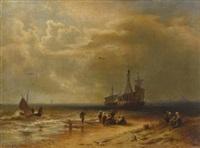 strandszene mit fischern und fischerbooten by hermann herzog