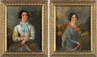 portraits (pair) by ramsay richard reinagle