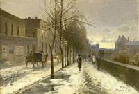 winterliche straßenansicht by antoine-ferdinand attendu
