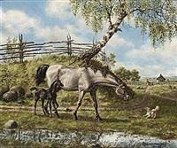 hästar i sommarlandskap by stan gustaf herman ankarcrona