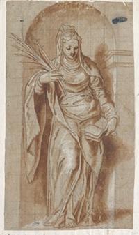 figur einer märtyrerin in einer nische by paolo farinati