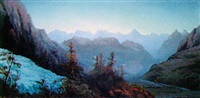 alpine valley at dawn by james whittet smith