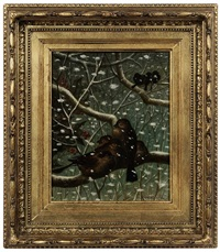 birds on branches in snowfall, holly berries by howard l. hill