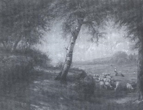 landscape with sheep by franklin c courter